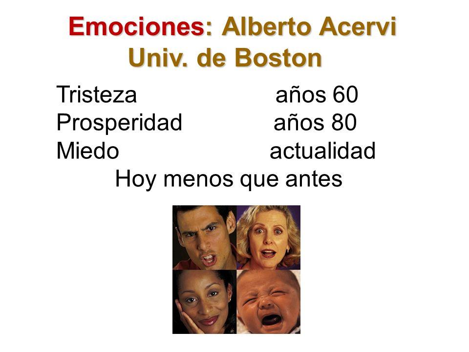 Emociones: Alberto Acervi Emociones: Alberto Acervi Univ. de Boston Tristeza años 60 Prosperidad años 80 Miedo actualidad Hoy menos que antes
