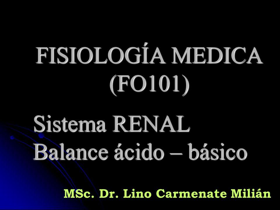FISIOLOGÍA MEDICA (FO101) Sistema RENAL Balance ácido – básico MSc. Dr. Lino Carmenate Milián