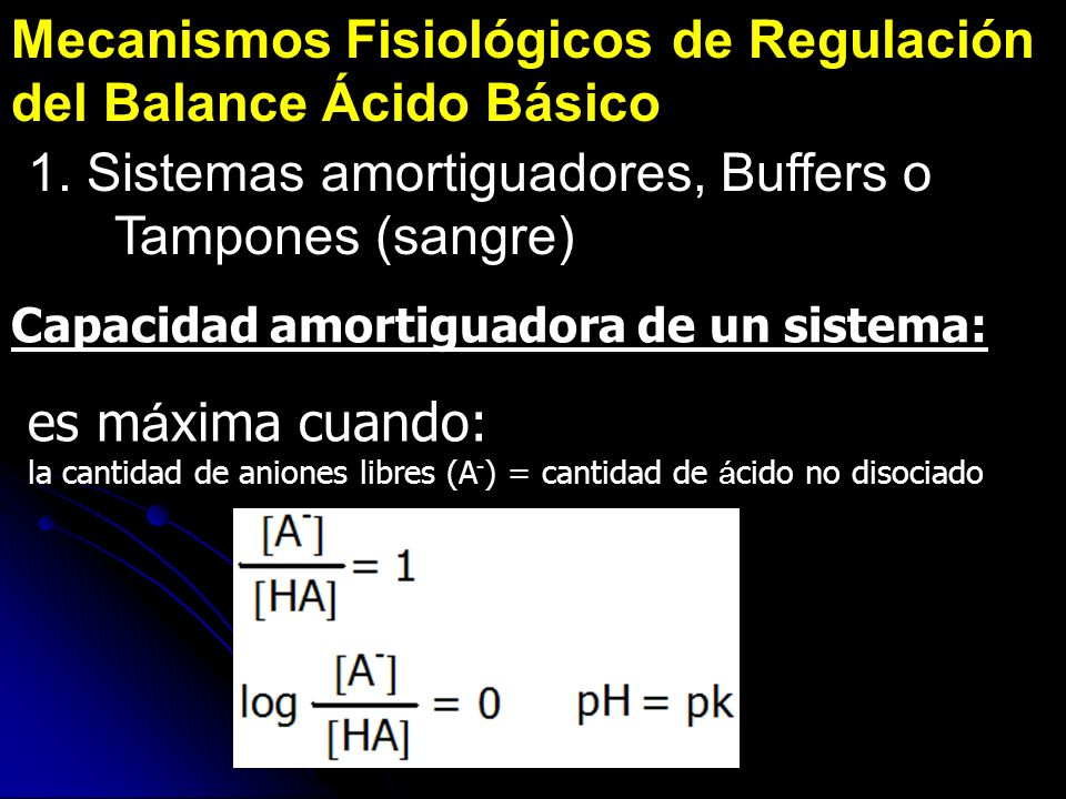 Mecanismos Fisiológicos de Regulación del Balance Ácido Básico 1. Sistemas amortiguadores, Buffers o Tampones (sangre) Capacidad amortiguadora de un s