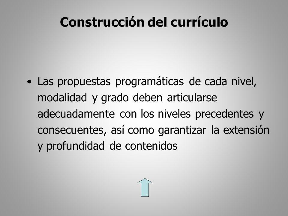 Construcción del currículo Las propuestas programáticas de cada nivel, modalidad y grado deben articularse adecuadamente con los niveles precedentes y