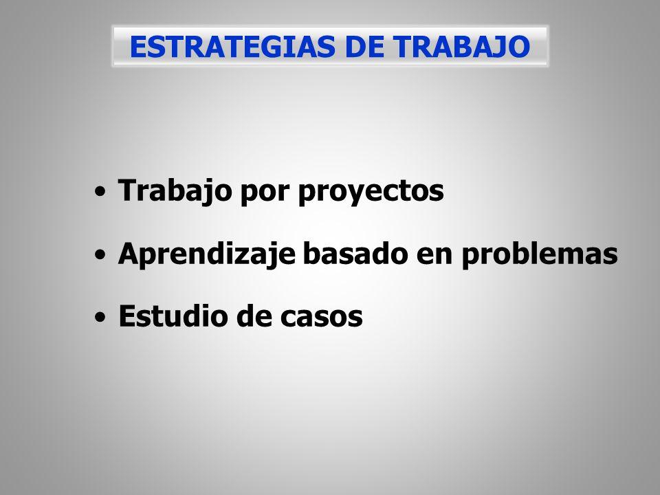 Trabajo por proyectos Aprendizaje basado en problemas Estudio de casos ESTRATEGIAS DE TRABAJO