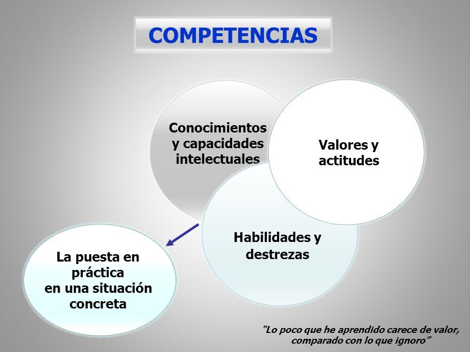 COMPETENCIAS Conocimientos y capacidades intelectuales Habilidades y destrezas Valores y actitudes La puesta en práctica en una situación concreta