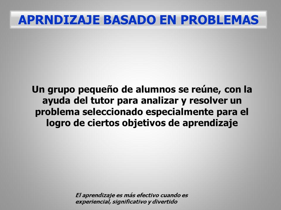 Un grupo pequeño de alumnos se reúne, con la ayuda del tutor para analizar y resolver un problema seleccionado especialmente para el logro de ciertos