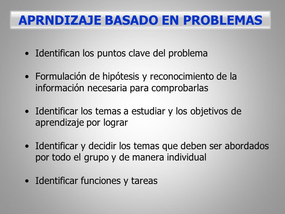 Identifican los puntos clave del problema Formulación de hipótesis y reconocimiento de la información necesaria para comprobarlas Identificar los tema