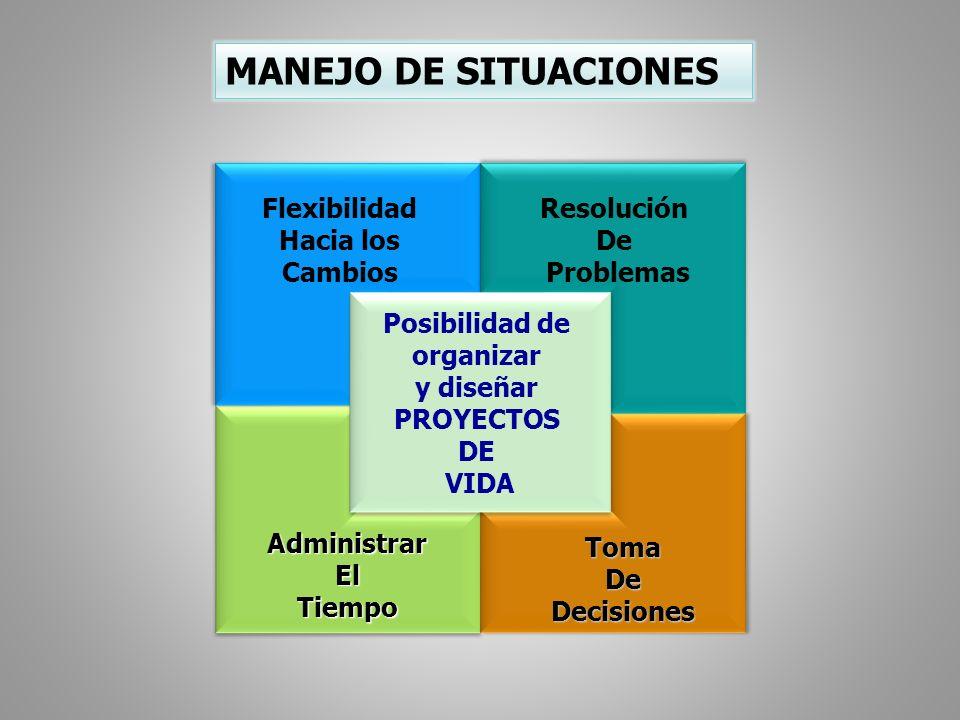 MANEJO DE SITUACIONES AdministrarElTiempoAdministrarElTiempo TomaDeDecisionesTomaDeDecisiones Flexibilidad Hacia los Cambios Flexibilidad Hacia los Ca
