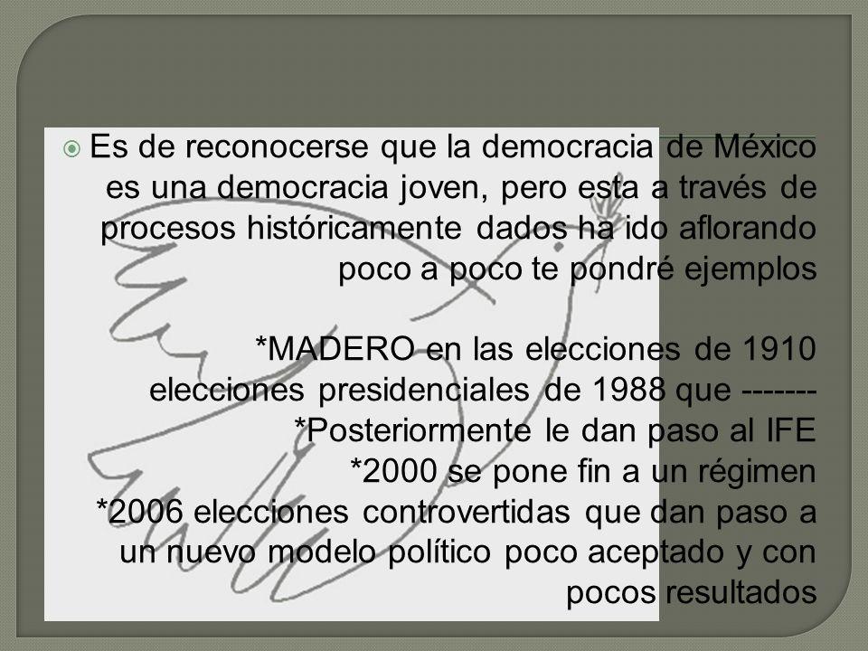 Es de reconocerse que la democracia de México es una democracia joven, pero esta a través de procesos históricamente dados ha ido aflorando poco a poc