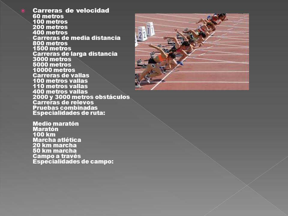 Carreras de velocidad 60 metros 100 metros 200 metros 400 metros Carreras de media distancia 800 metros 1500 metros Carreras de larga distancia 3000 m