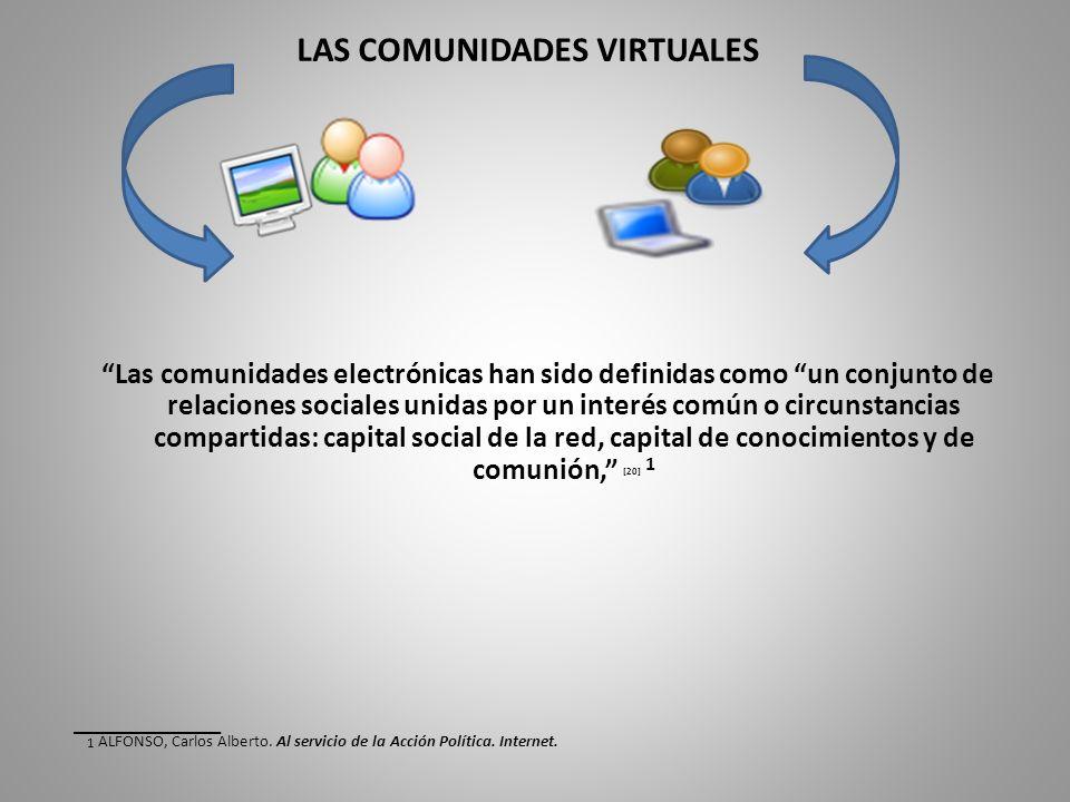 LAS COMUNIDADES VIRTUALES Las comunidades electrónicas han sido definidas como un conjunto de relaciones sociales unidas por un interés común o circunstancias compartidas: capital social de la red, capital de conocimientos y de comunión, [20] 1 ____________ 1 ALFONSO, Carlos Alberto.