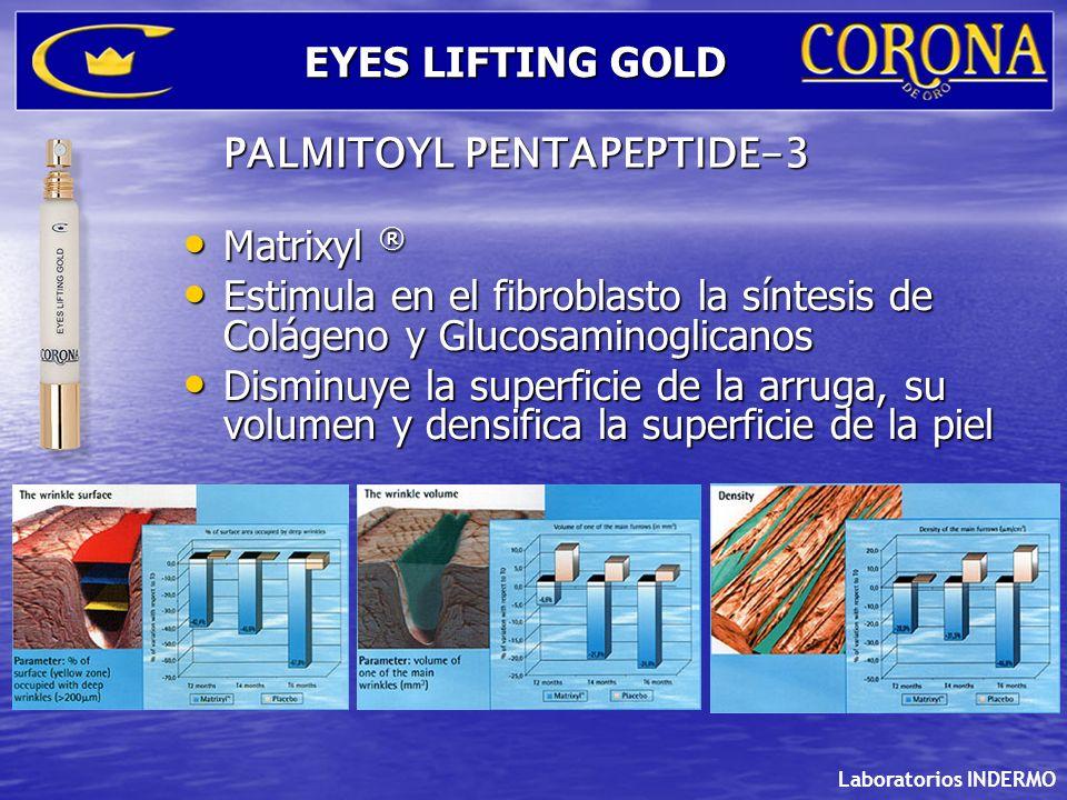 Laboratorios INDERMO EYES LIFTING GOLD Matrixyl ® Matrixyl ® Estimula en el fibroblasto la síntesis de Colágeno y Glucosaminoglicanos Estimula en el f