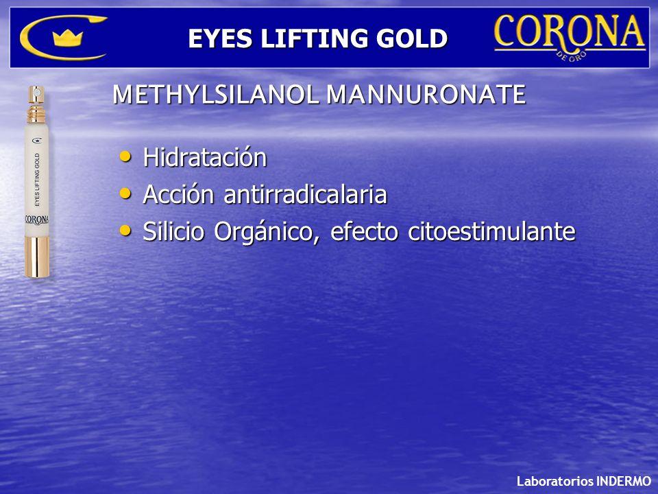 Laboratorios INDERMO EYES LIFTING GOLD Hidratación Hidratación Acción antirradicalaria Acción antirradicalaria Silicio Orgánico, efecto citoestimulant
