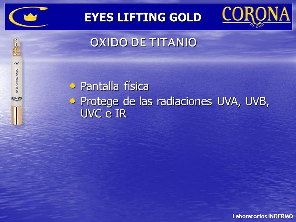 Pantalla física Pantalla física Protege de las radiaciones UVA, UVB, UVC e IR Protege de las radiaciones UVA, UVB, UVC e IR Laboratorios INDERMO EYES