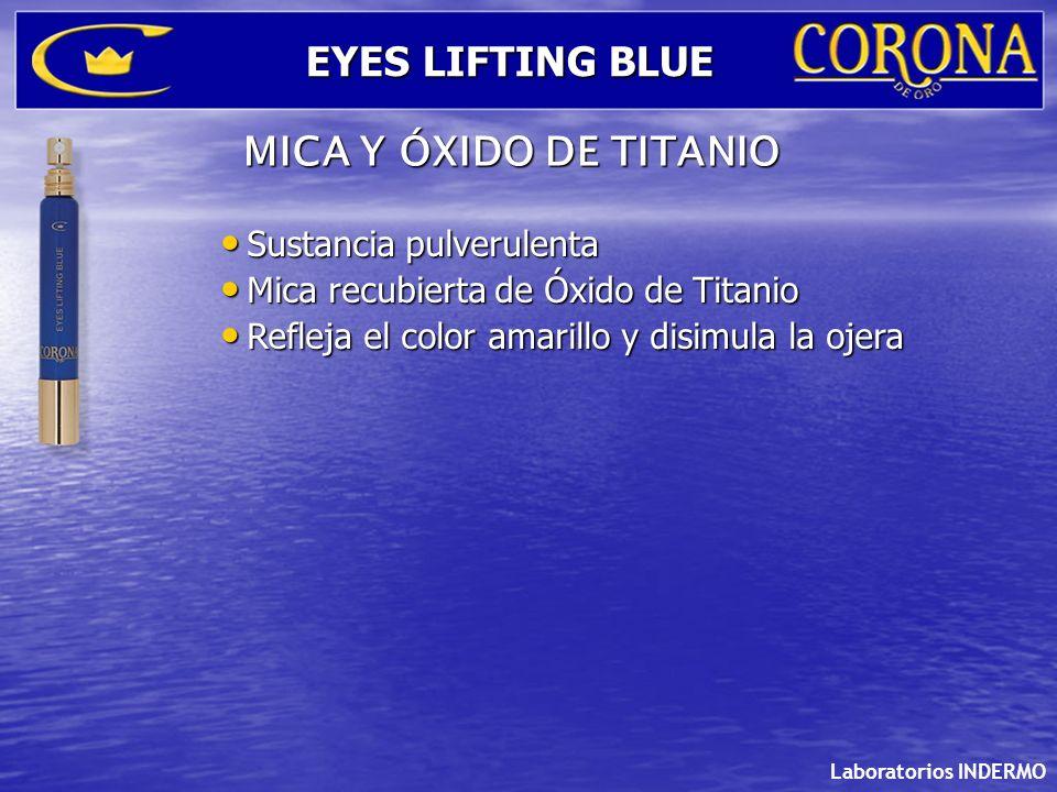 Sustancia pulverulenta Sustancia pulverulenta Mica recubierta de Óxido de Titanio Mica recubierta de Óxido de Titanio Refleja el color amarillo y disi