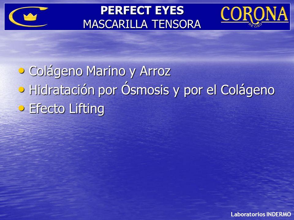 Laboratorios INDERMO PERFECT EYES MASCARILLA TENSORA Colágeno Marino y Arroz Colágeno Marino y Arroz Hidratación por Ósmosis y por el Colágeno Hidrata
