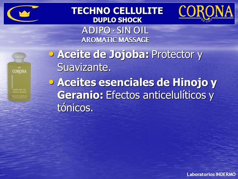 Laboratorios INDERMO TECHNO CELLULITE DUPLO SHOCK Aceite de Jojoba: Protector y Suavizante. Aceite de Jojoba: Protector y Suavizante. Aceites esencial