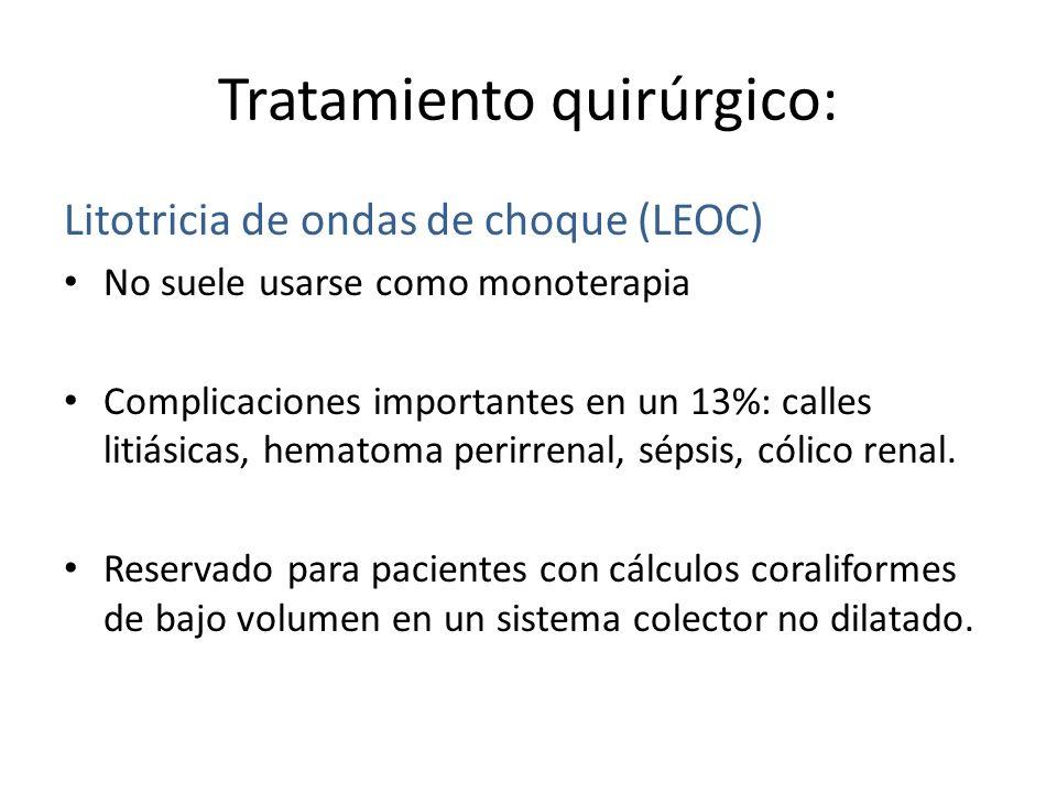 Tratamiento quirúrgico: Litotricia de ondas de choque (LEOC) No suele usarse como monoterapia Complicaciones importantes en un 13%: calles litiásicas, hematoma perirrenal, sépsis, cólico renal.