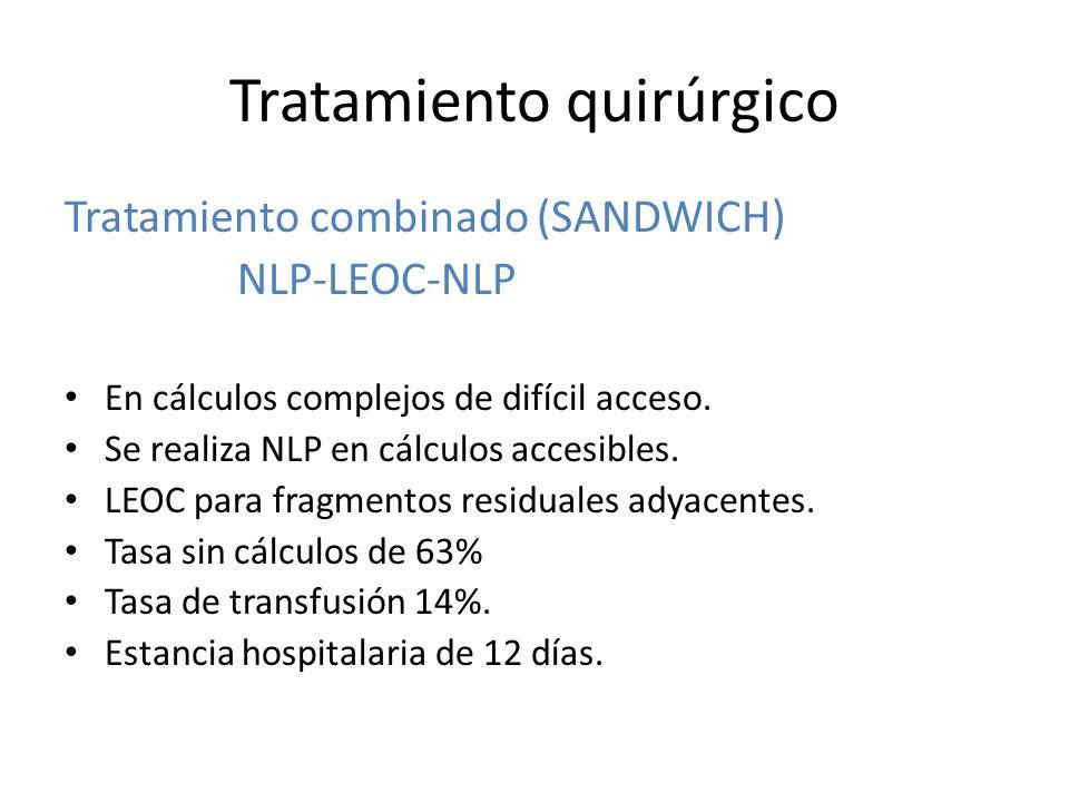 Tratamiento quirúrgico Tratamiento combinado (SANDWICH) NLP-LEOC-NLP En cálculos complejos de difícil acceso.