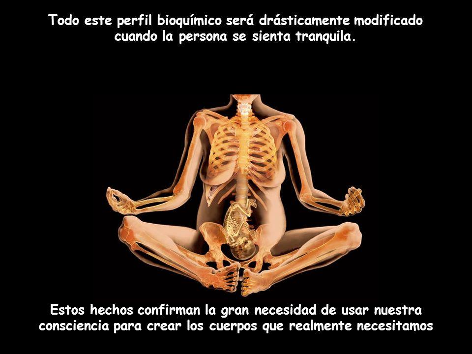 Estos hechos confirman la gran necesidad de usar nuestra consciencia para crear los cuerpos que realmente necesitamos Todo este perfil bioquímico será drásticamente modificado cuando la persona se sienta tranquila.