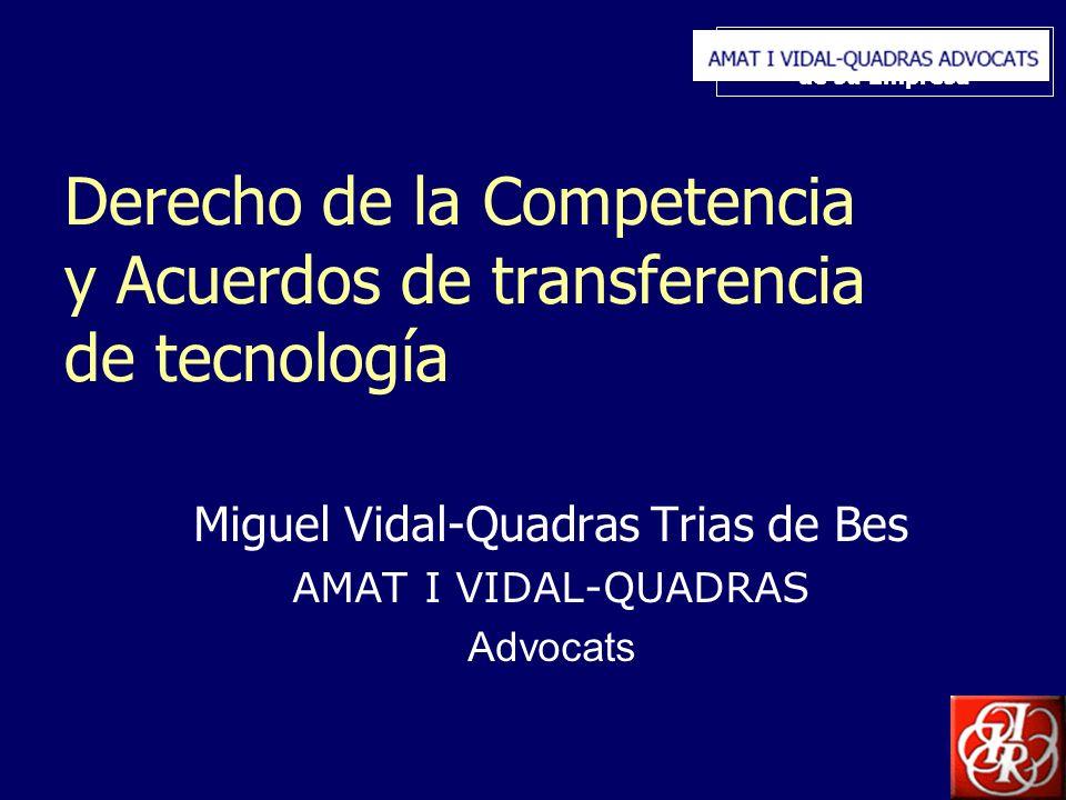 Inserte aquí el logo de su Empresa Derecho de la Competencia y Acuerdos de transferencia de tecnología Miguel Vidal-Quadras Trias de Bes AMAT I VIDAL-QUADRAS Advocats