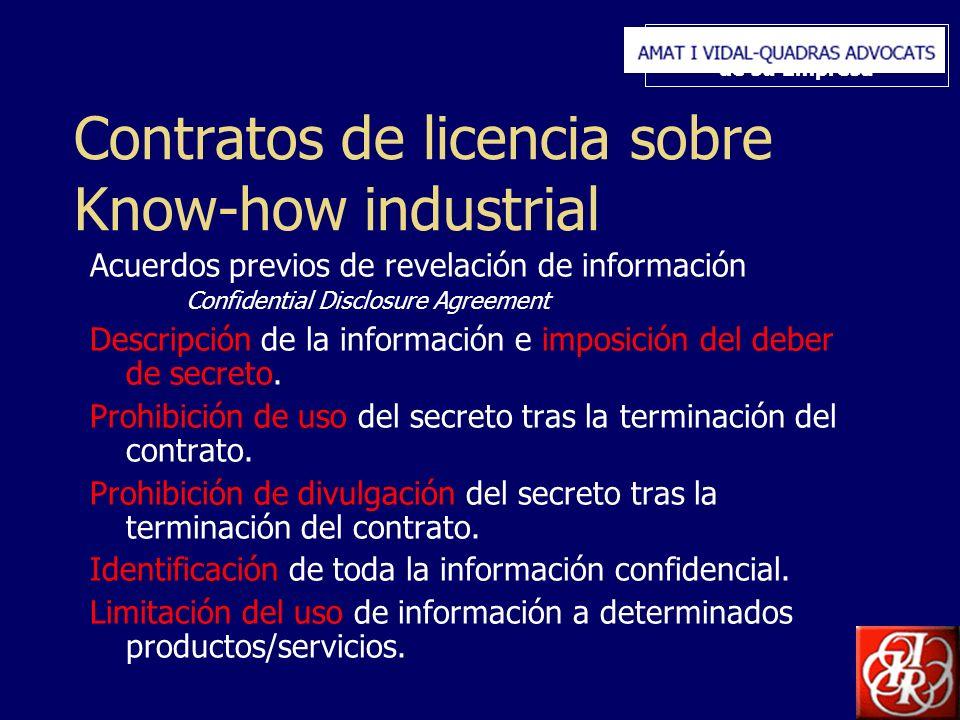Inserte aquí el logo de su Empresa Contratos de licencia sobre Know-how industrial Acuerdos previos de revelación de información Confidential Disclosure Agreement Descripción de la información e imposición del deber de secreto.