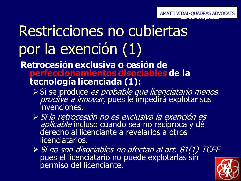 Inserte aquí el logo de su Empresa Restricciones no cubiertas por la exención (1) Retrocesión exclusiva o cesión de perfeccionamientos disociables de