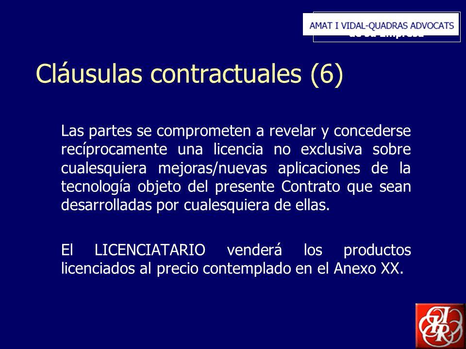 Inserte aquí el logo de su Empresa Cláusulas contractuales (6) Las partes se comprometen a revelar y concederse recíprocamente una licencia no exclusi