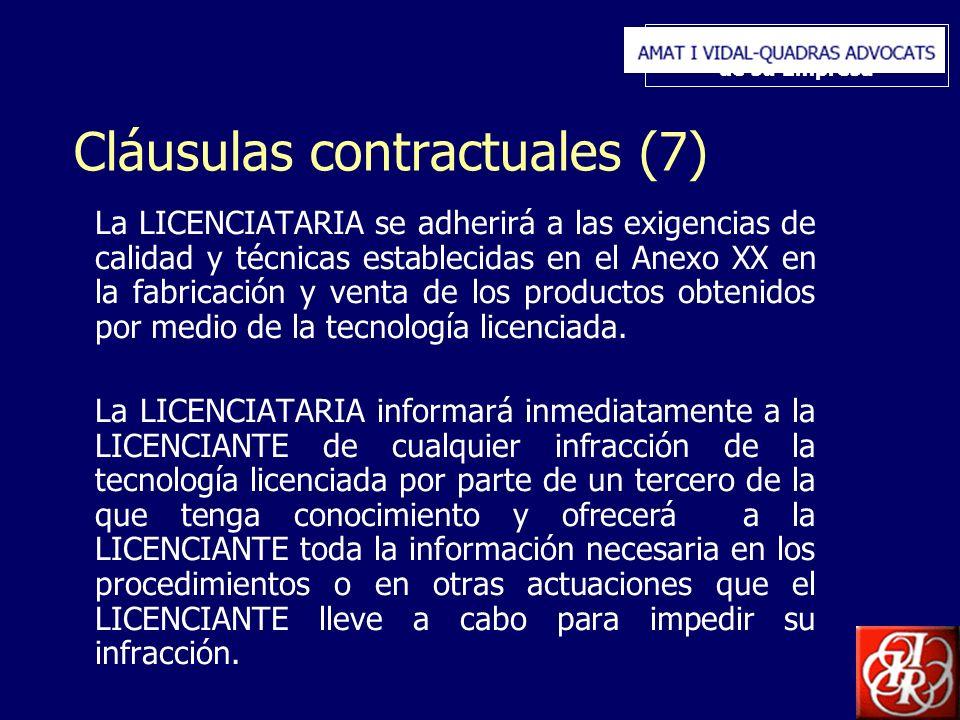 Inserte aquí el logo de su Empresa Cláusulas contractuales (7) La LICENCIATARIA se adherirá a las exigencias de calidad y técnicas establecidas en el Anexo XX en la fabricación y venta de los productos obtenidos por medio de la tecnología licenciada.