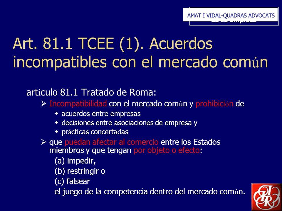 Inserte aquí el logo de su Empresa Art. 81.1 TCEE (1). Acuerdos incompatibles con el mercado com ú n art í culo 81.1 Tratado de Roma: Incompatibilidad