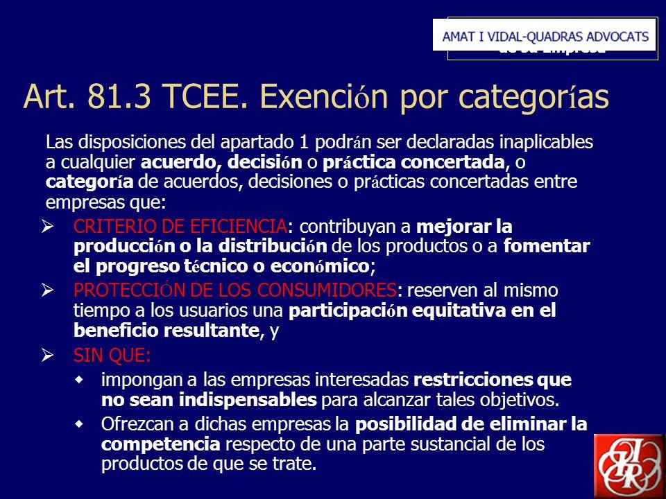 Inserte aquí el logo de su Empresa Art. 81.3 TCEE. Exenci ó n por categor í as Las disposiciones del apartado 1 podr á n ser declaradas inaplicables a
