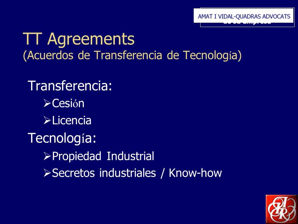 Inserte aquí el logo de su Empresa TT Agreements (Acuerdos de Transferencia de Tecnolog í a) Transferencia: Cesi ó n Licencia Tecnolog í a: Propiedad Industrial Secretos industriales / Know-how