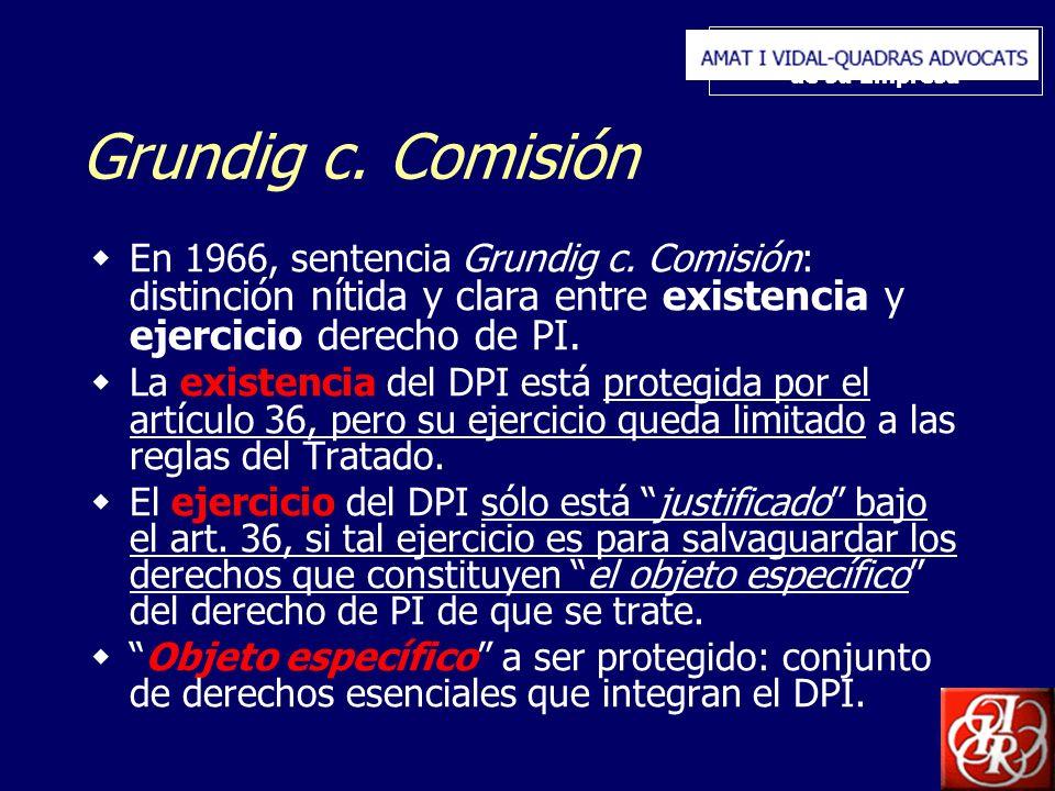 Inserte aquí el logo de su Empresa Grundig c. Comisión En 1966, sentencia Grundig c. Comisión: d istinción nítida y clara entre existencia y ejercicio