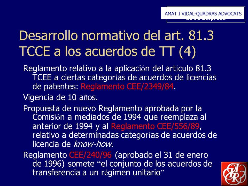 Inserte aquí el logo de su Empresa Desarrollo normativo del art. 81.3 TCCE a los acuerdos de TT (4) Reglamento relativo a la aplicaci ó n del art í cu