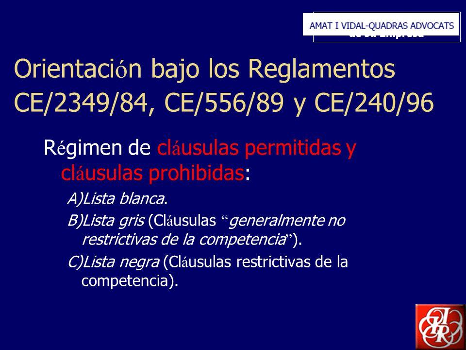 Inserte aquí el logo de su Empresa Orientaci ó n bajo los Reglamentos CE/2349/84, CE/556/89 y CE/240/96 R é gimen de cl á usulas permitidas y cl á usulas prohibidas: A)Lista blanca.