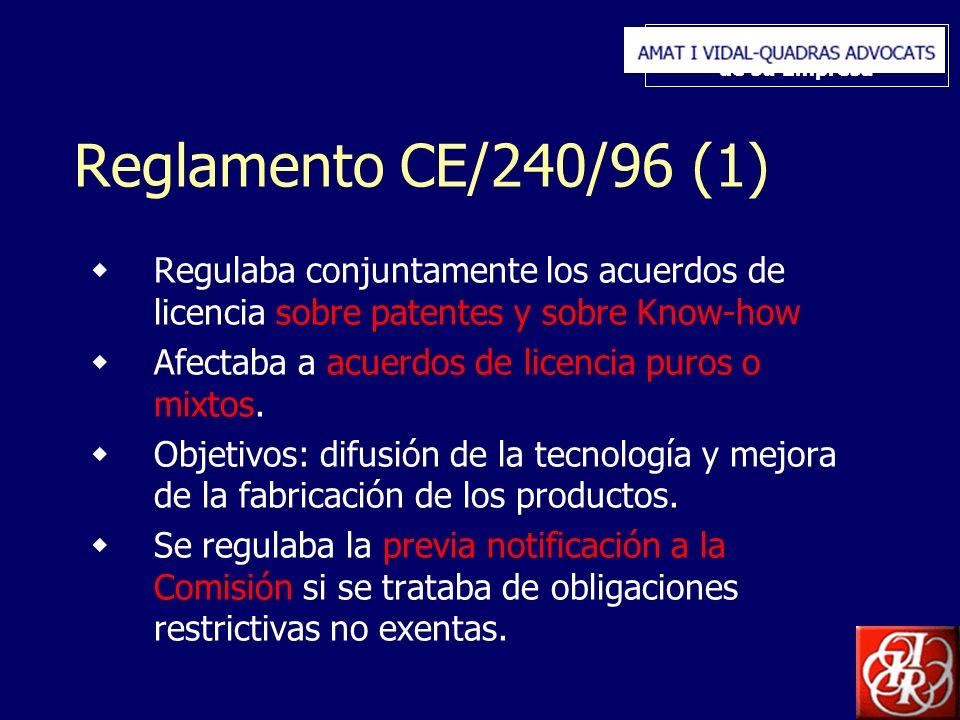 Inserte aquí el logo de su Empresa Reglamento CE/240/96 (1) Regulaba conjuntamente los acuerdos de licencia sobre patentes y sobre Know-how Afectaba a acuerdos de licencia puros o mixtos.
