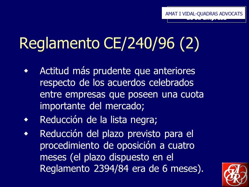 Inserte aquí el logo de su Empresa Reglamento CE/240/96 (2) Actitud más prudente que anteriores respecto de los acuerdos celebrados entre empresas que poseen una cuota importante del mercado; Reducción de la lista negra; Reducción del plazo previsto para el procedimiento de oposición a cuatro meses (el plazo dispuesto en el Reglamento 2394/84 era de 6 meses).