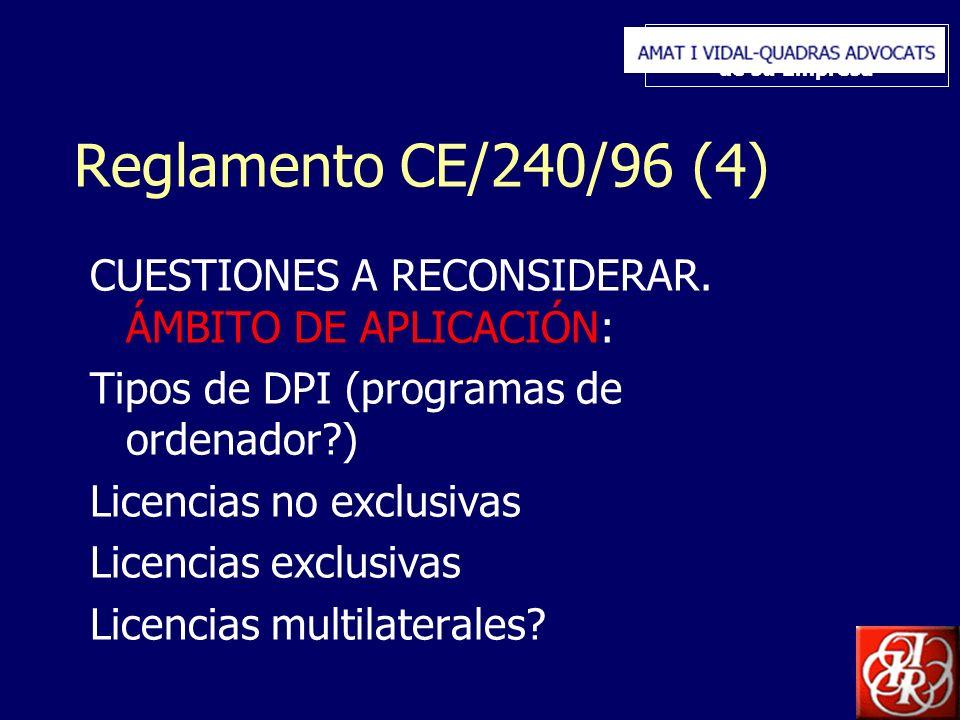 Inserte aquí el logo de su Empresa Reglamento CE/240/96 (4) CUESTIONES A RECONSIDERAR. ÁMBITO DE APLICACIÓN: Tipos de DPI (programas de ordenador?) Li