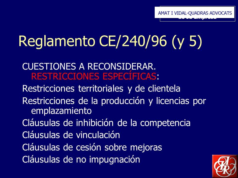 Inserte aquí el logo de su Empresa Reglamento CE/240/96 (y 5) CUESTIONES A RECONSIDERAR. RESTRICCIONES ESPECÍFICAS: Restricciones territoriales y de c