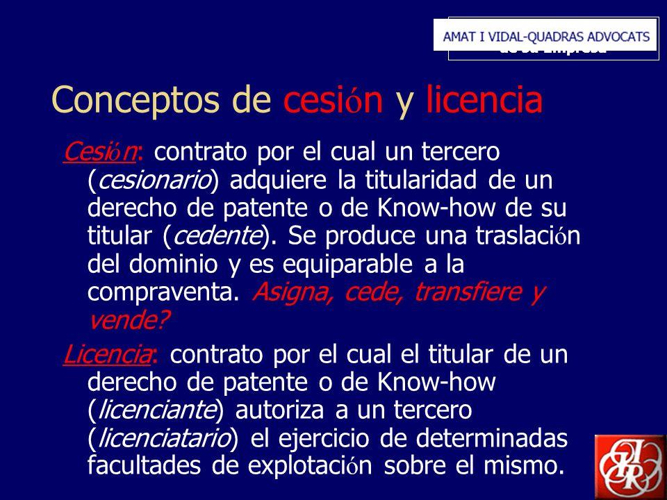Inserte aquí el logo de su Empresa Conceptos de cesi ó n y licencia Cesi ó n: contrato por el cual un tercero (cesionario) adquiere la titularidad de un derecho de patente o de Know-how de su titular (cedente).