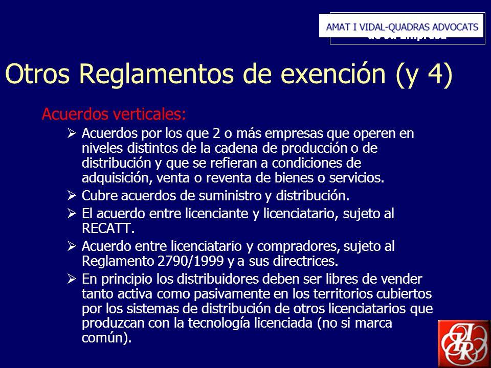 Inserte aquí el logo de su Empresa Otros Reglamentos de exención (y 4) Acuerdos verticales: Acuerdos por los que 2 o más empresas que operen en nivele
