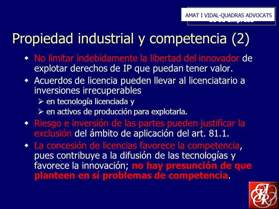 Inserte aquí el logo de su Empresa Propiedad industrial y competencia (2) No limitar indebidamente la libertad del innovador de explotar derechos de IP que puedan tener valor.
