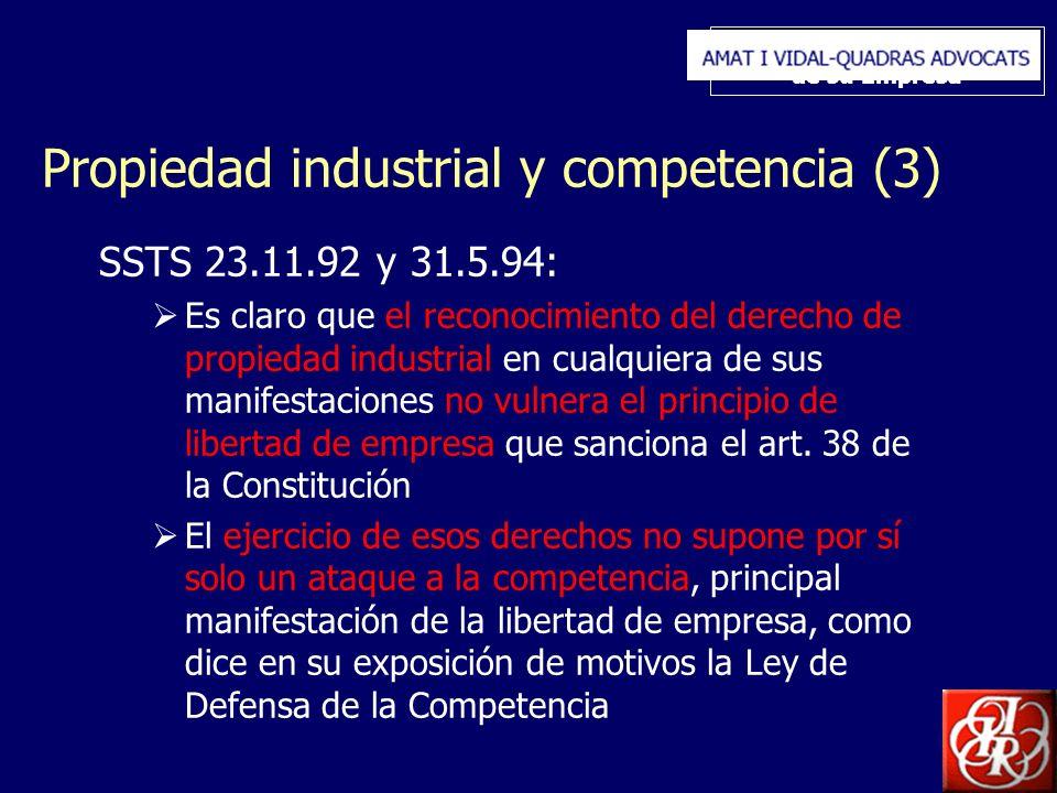 Inserte aquí el logo de su Empresa Propiedad industrial y competencia (3) SSTS 23.11.92 y 31.5.94: Es claro que el reconocimiento del derecho de propiedad industrial en cualquiera de sus manifestaciones no vulnera el principio de libertad de empresa que sanciona el art.