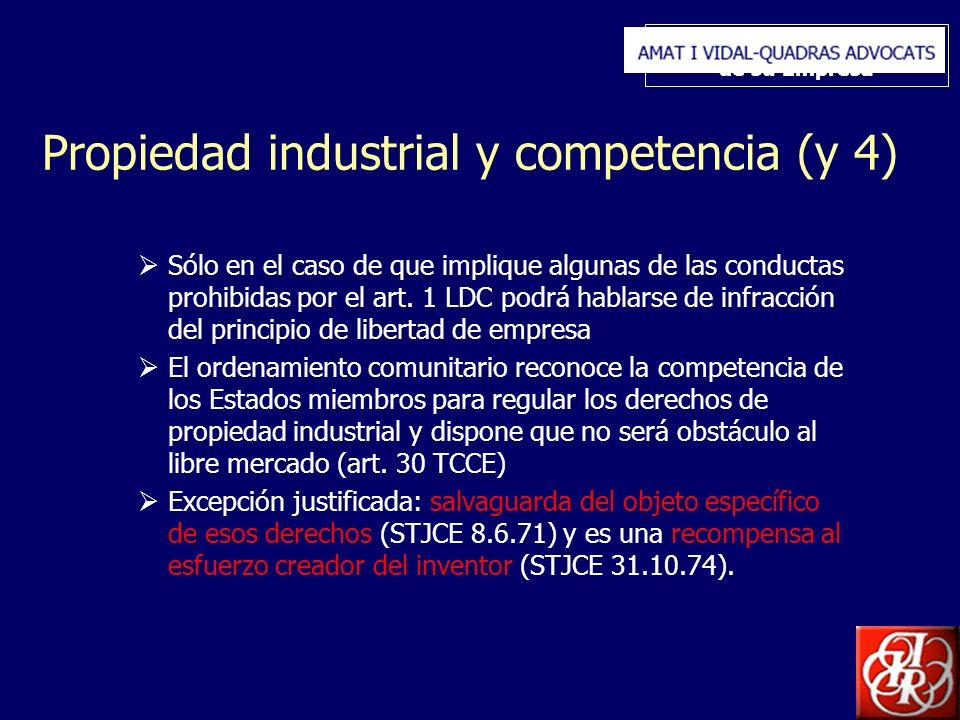 Inserte aquí el logo de su Empresa Propiedad industrial y competencia (y 4) Sólo en el caso de que implique algunas de las conductas prohibidas por el art.
