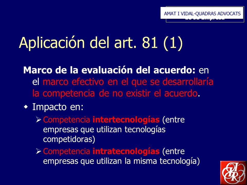 Inserte aquí el logo de su Empresa Aplicación del art. 81 (1) Marco de la evaluación del acuerdo: en el marco efectivo en el que se desarrollaría la c