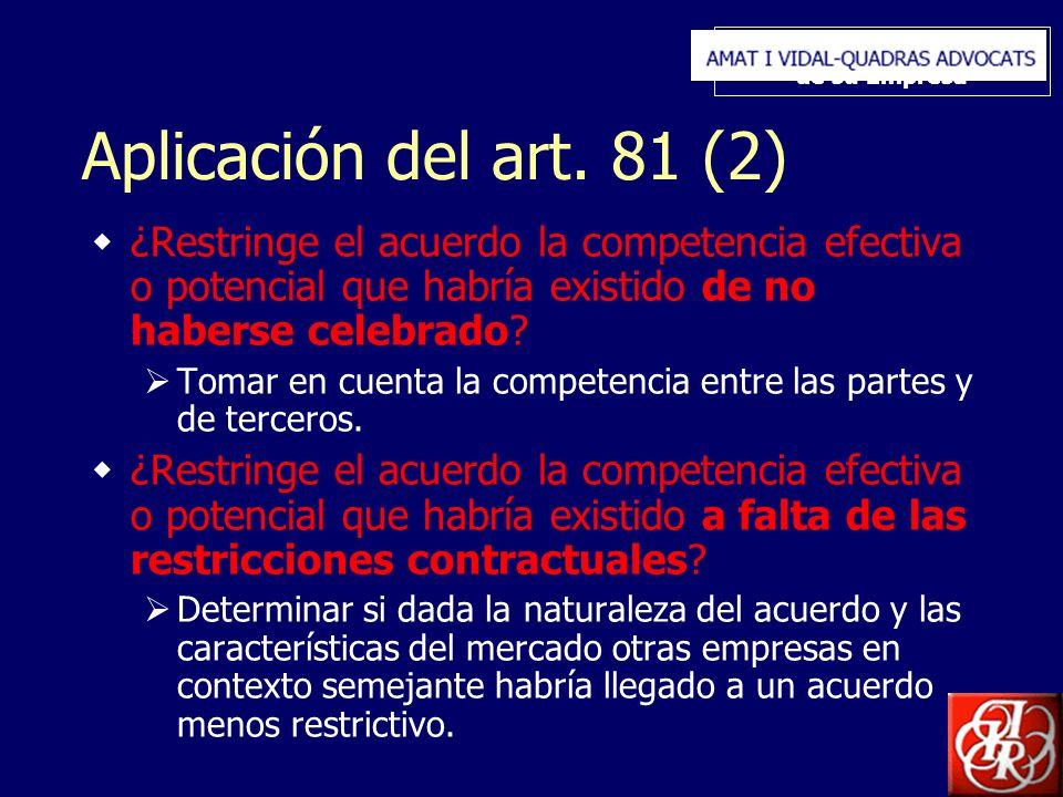 Inserte aquí el logo de su Empresa Aplicación del art. 81 (2) ¿Restringe el acuerdo la competencia efectiva o potencial que habría existido de no habe