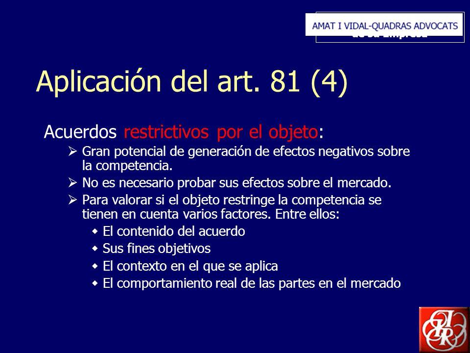 Inserte aquí el logo de su Empresa Aplicación del art. 81 (4) Acuerdos restrictivos por el objeto: Gran potencial de generación de efectos negativos s