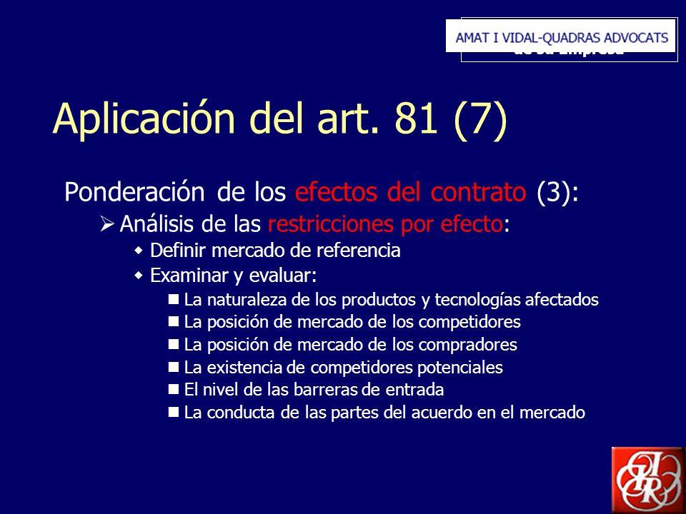 Inserte aquí el logo de su Empresa Aplicación del art. 81 (7) Ponderación de los efectos del contrato (3): Análisis de las restricciones por efecto: D