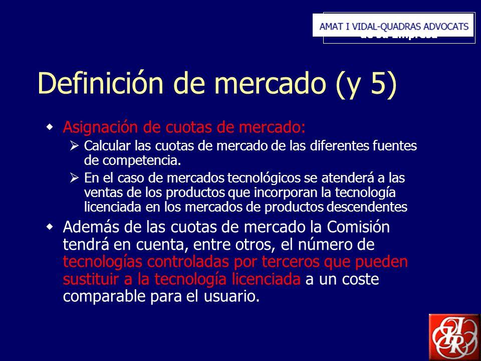 Inserte aquí el logo de su Empresa Definición de mercado (y 5) Asignación de cuotas de mercado: Calcular las cuotas de mercado de las diferentes fuentes de competencia.