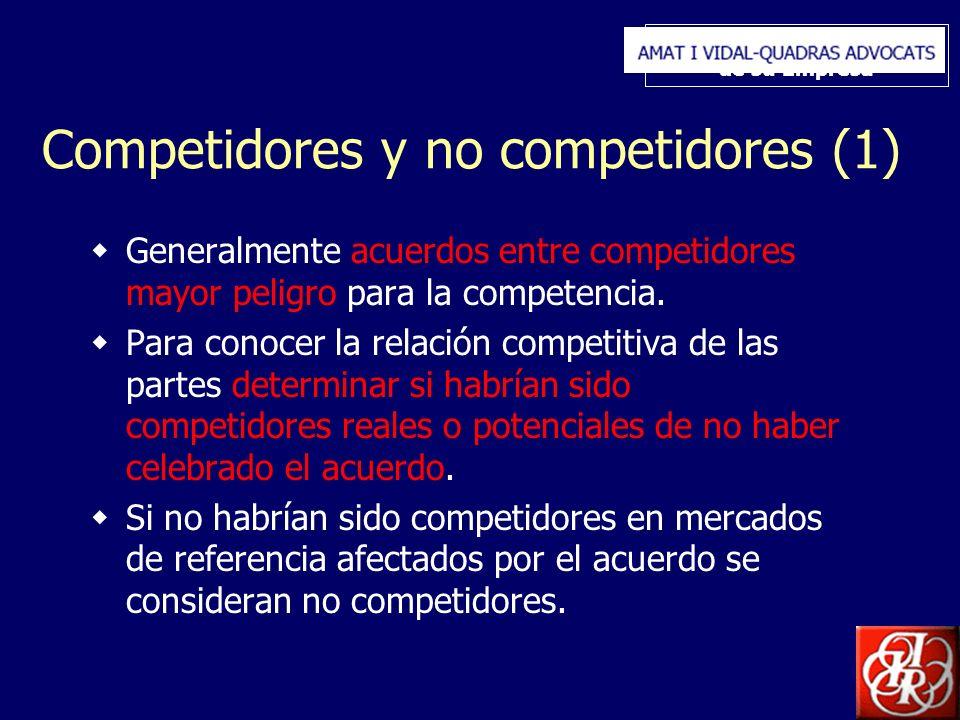 Inserte aquí el logo de su Empresa Competidores y no competidores (1) Generalmente acuerdos entre competidores mayor peligro para la competencia. Para