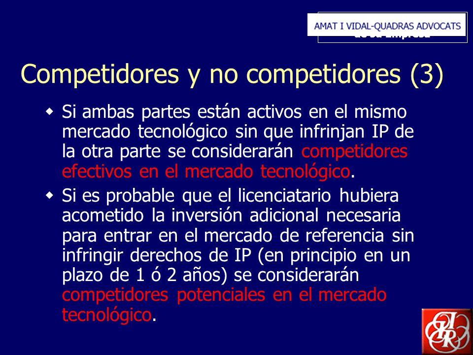 Inserte aquí el logo de su Empresa Competidores y no competidores (3) Si ambas partes están activos en el mismo mercado tecnológico sin que infrinjan IP de la otra parte se considerarán competidores efectivos en el mercado tecnológico.