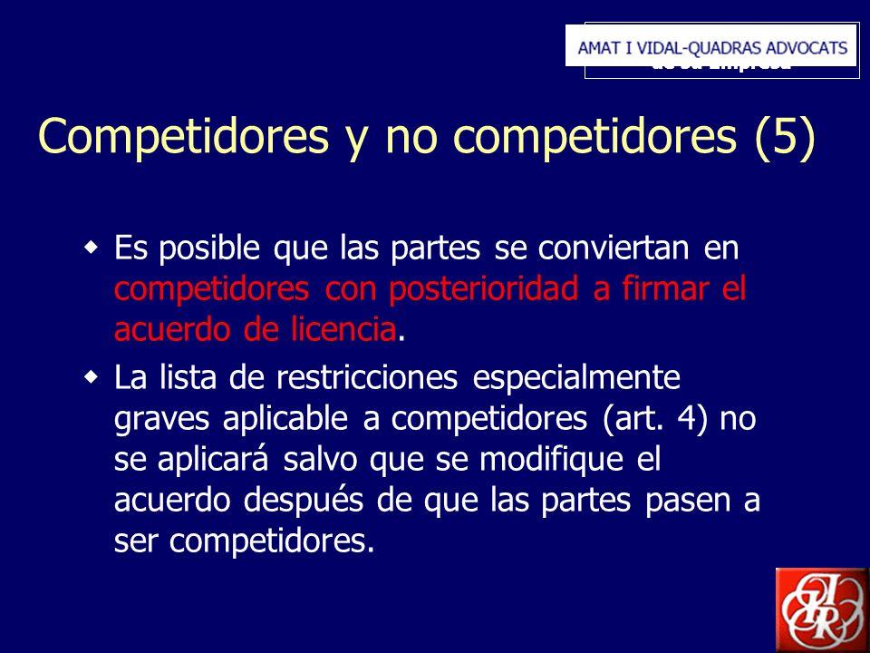Inserte aquí el logo de su Empresa Competidores y no competidores (5) Es posible que las partes se conviertan en competidores con posterioridad a firmar el acuerdo de licencia.