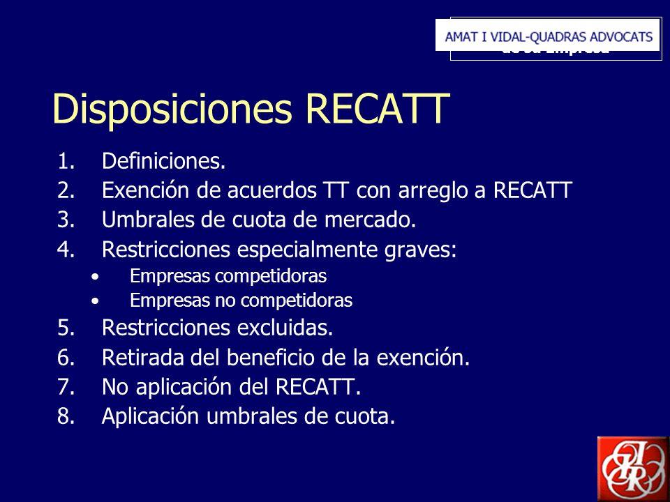 Inserte aquí el logo de su Empresa Disposiciones RECATT 1.Definiciones. 2.Exención de acuerdos TT con arreglo a RECATT 3.Umbrales de cuota de mercado.